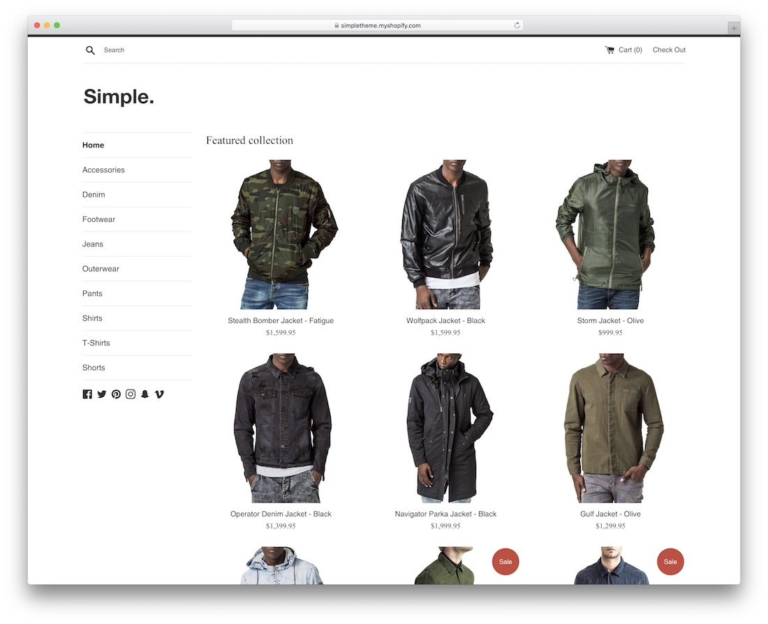 responsive simple shopify theme