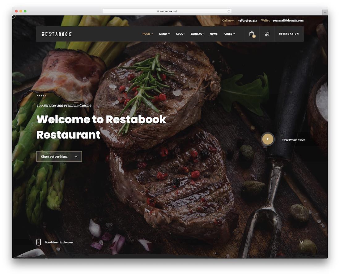 restabook restaurant website template