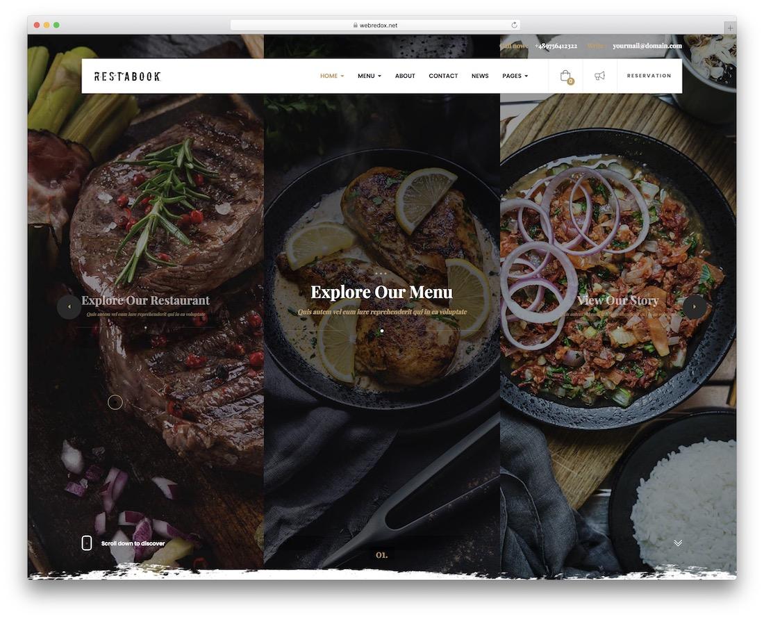 restabook wordpress theme for bars