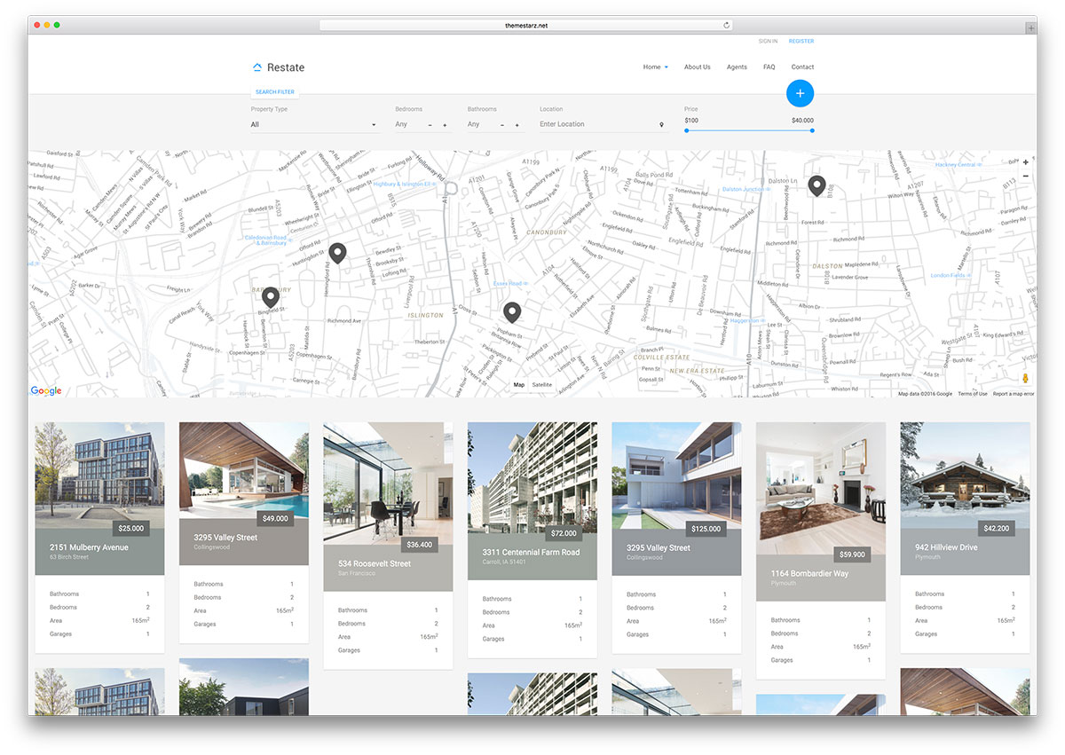 Restate minimal google map html real estate template