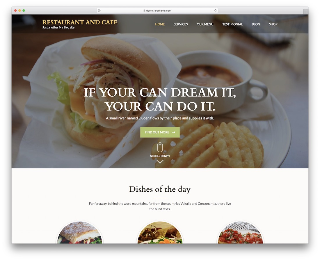 restaurant and cafe free wordpress theme
