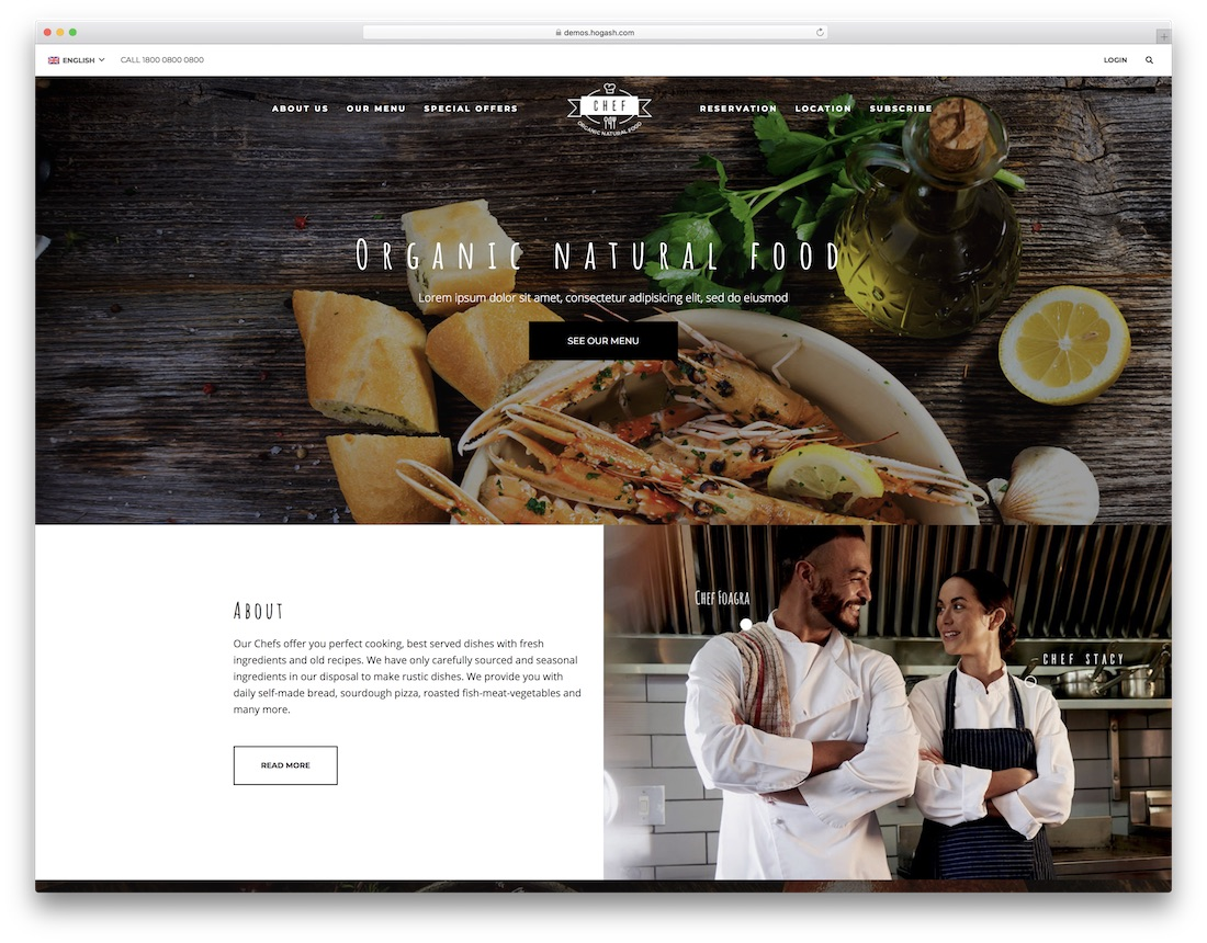 restaurant chef catering website template