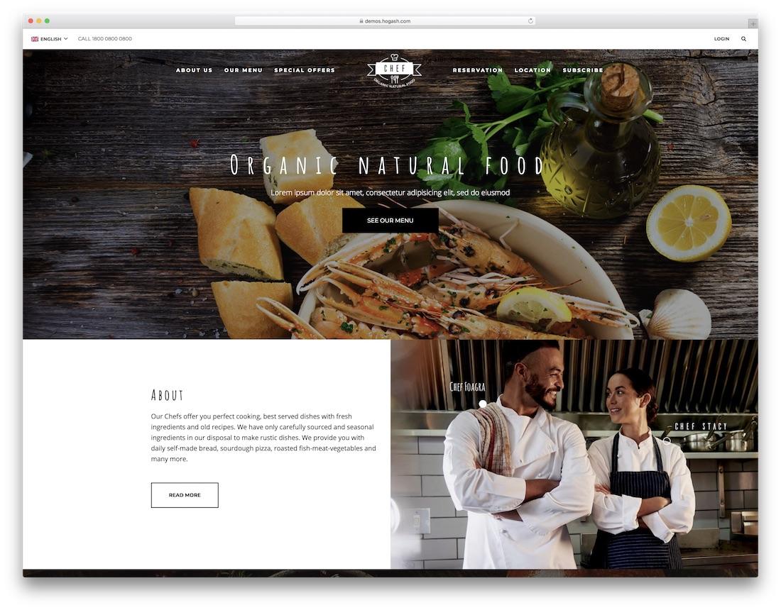 restaurant chef catering website template