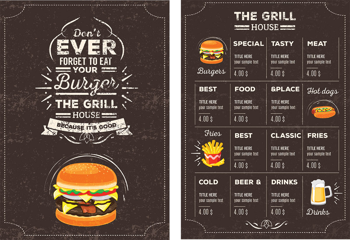 Lovely Restaurant Menu Psd Templates