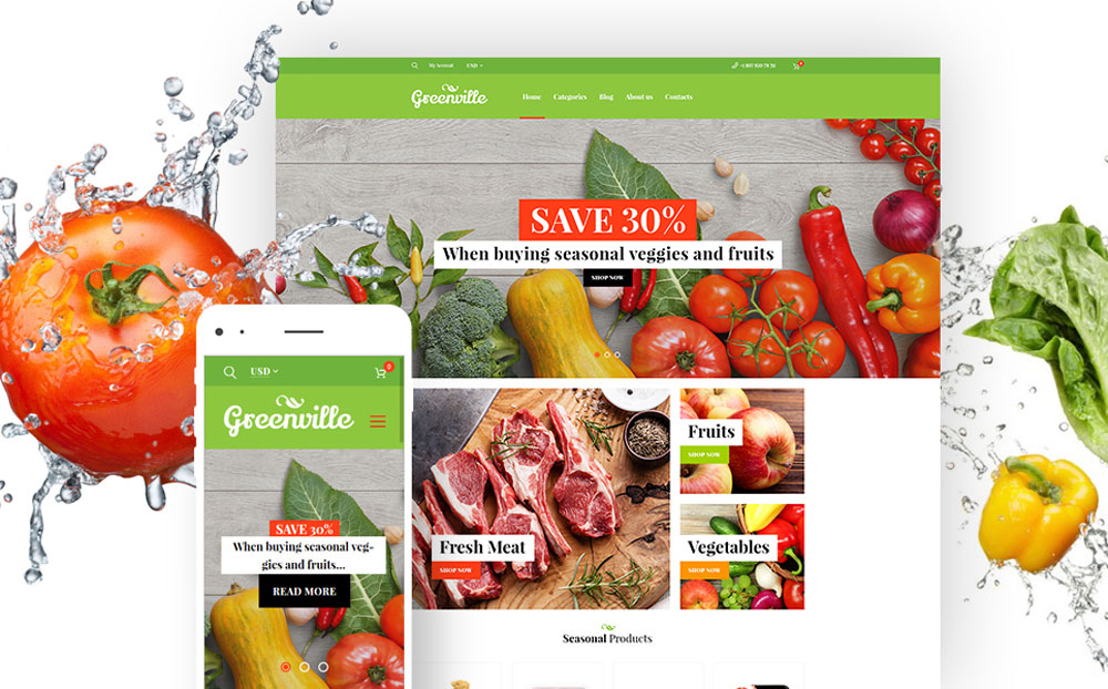 Greenville - Organic Food Restaurant WooCommerce Theme