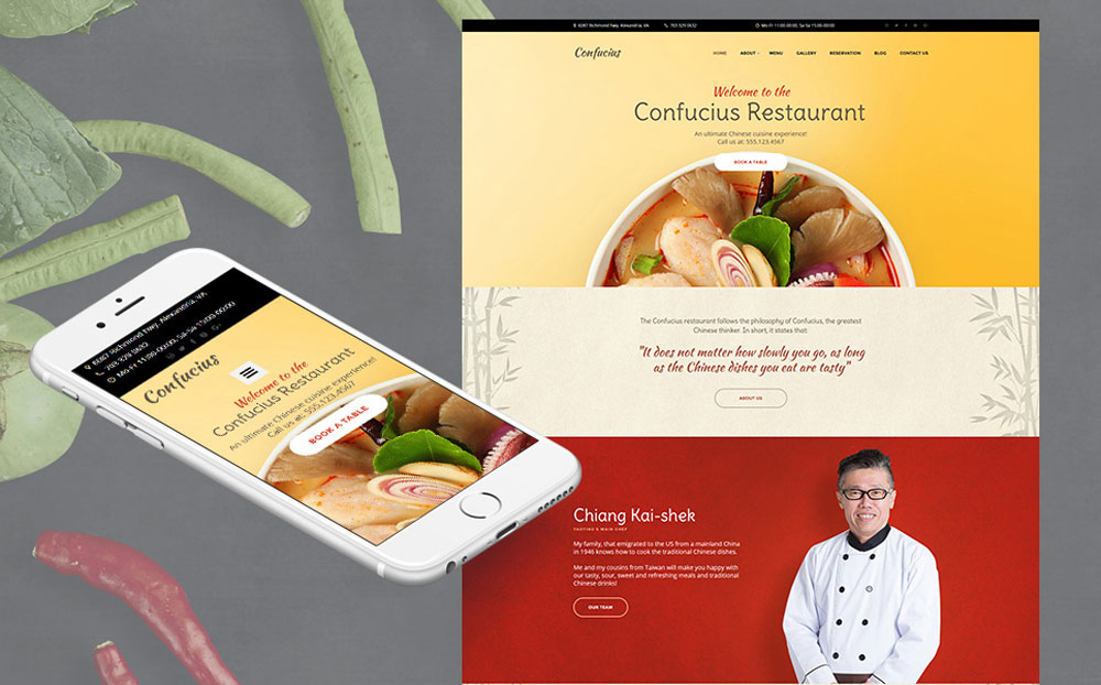Chinese Restaurant Responsive Moto CMS 3 Template
