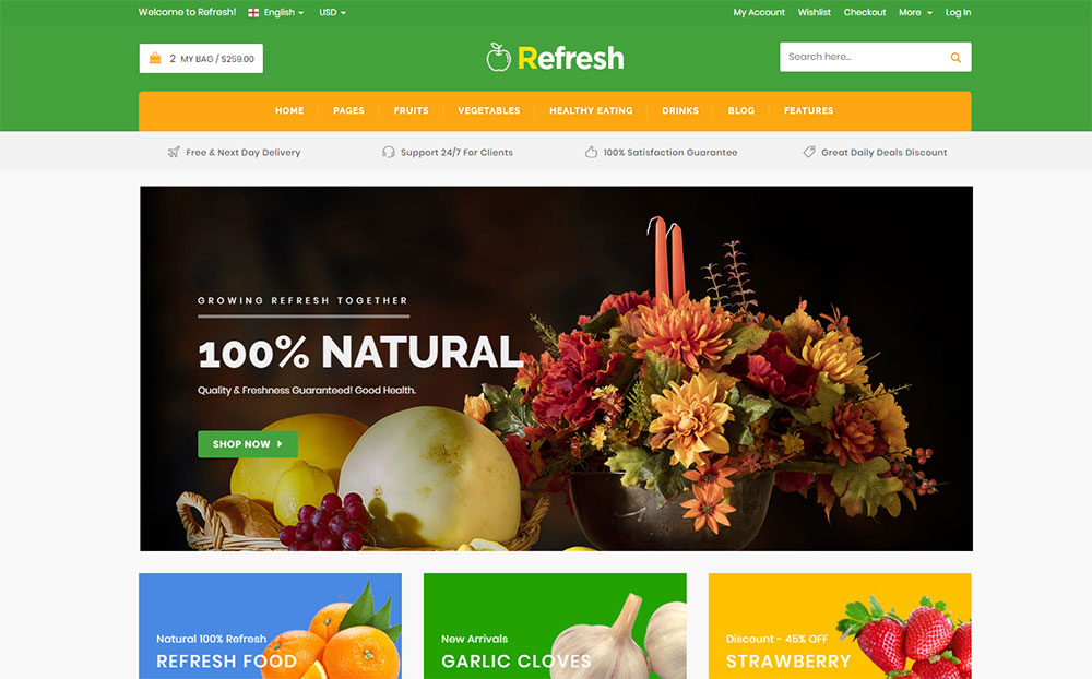 Refresh - Food & Restaurant Website Template Website Template
