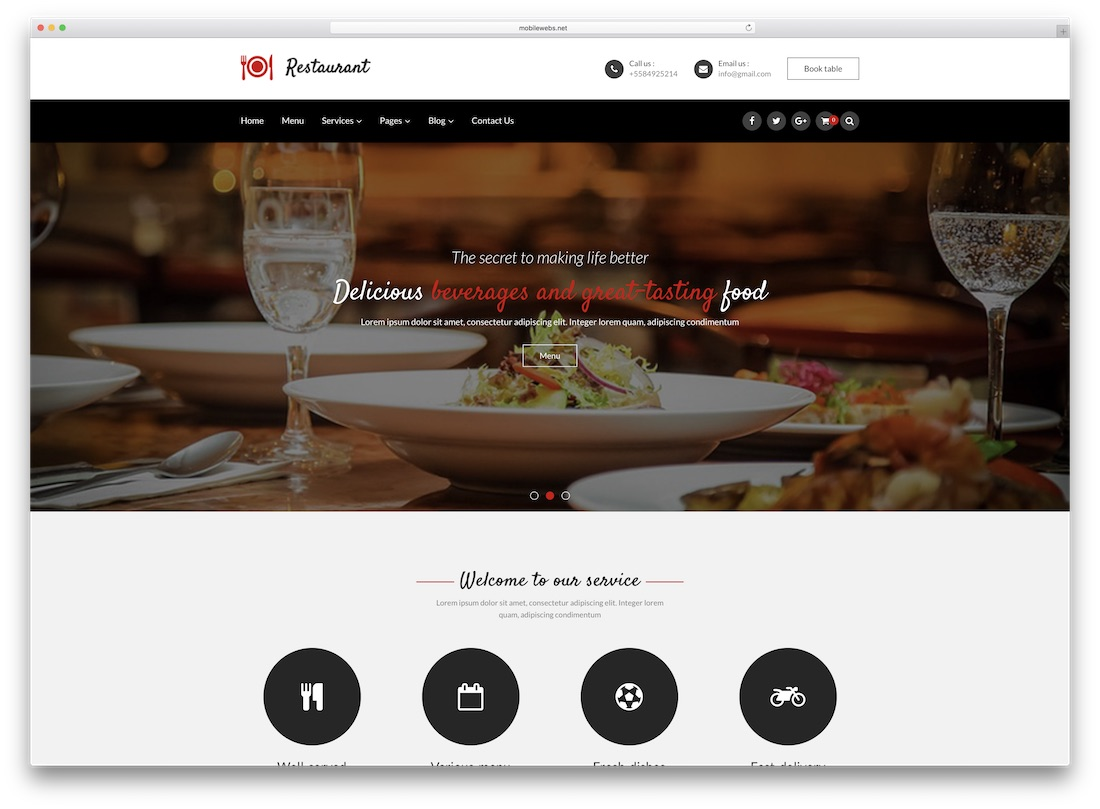 restaurant zen cart template