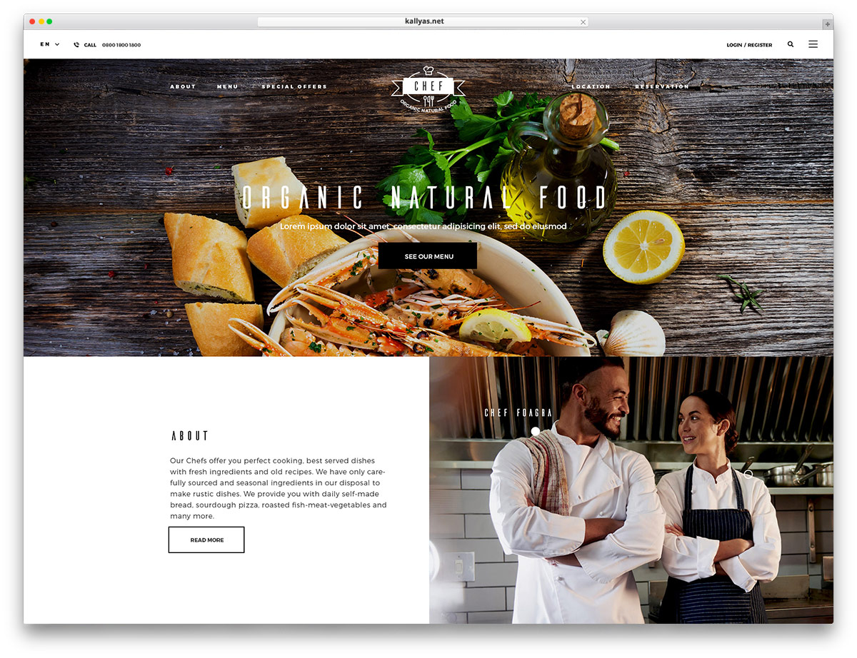 KALLYAS - classic website design for restaurants