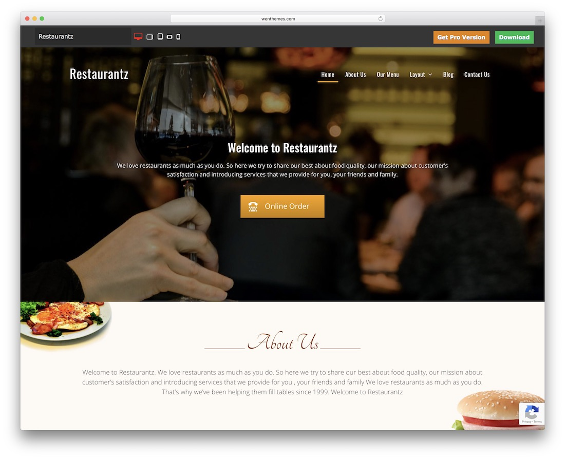 restaurantz free wordpress theme