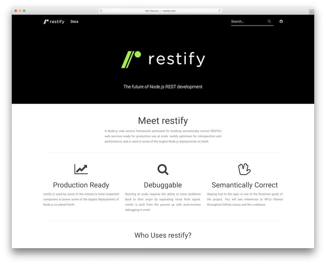 restify node js framework