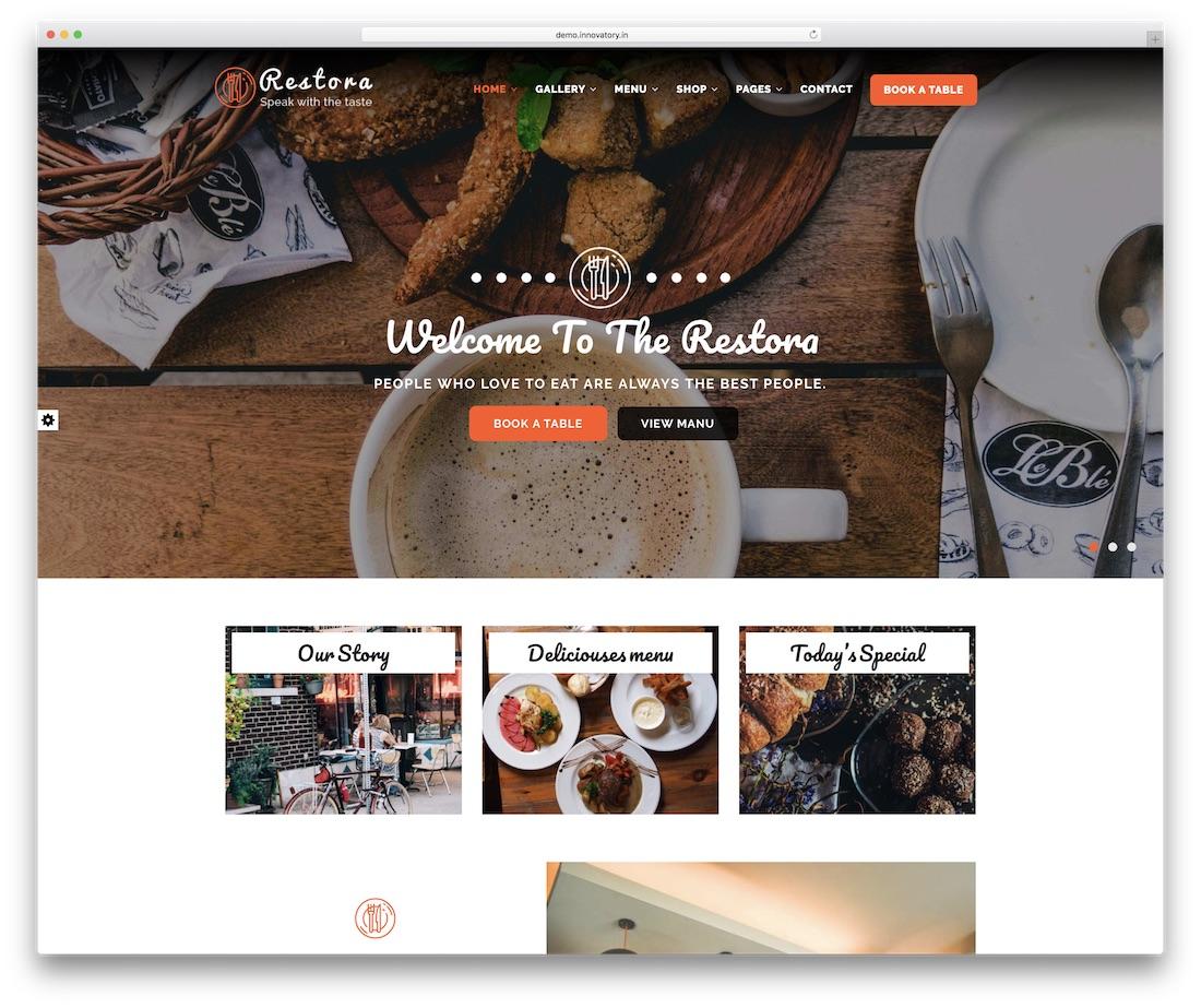 restora food website template