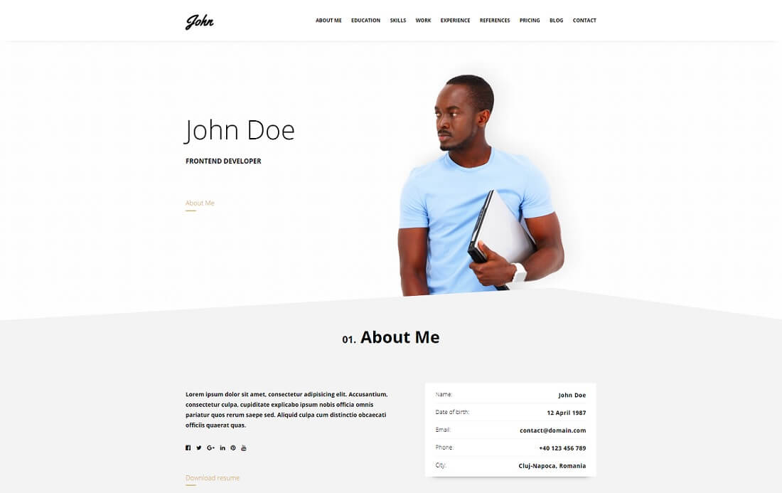 Resume HTML Cv Website Template  About Me Resume