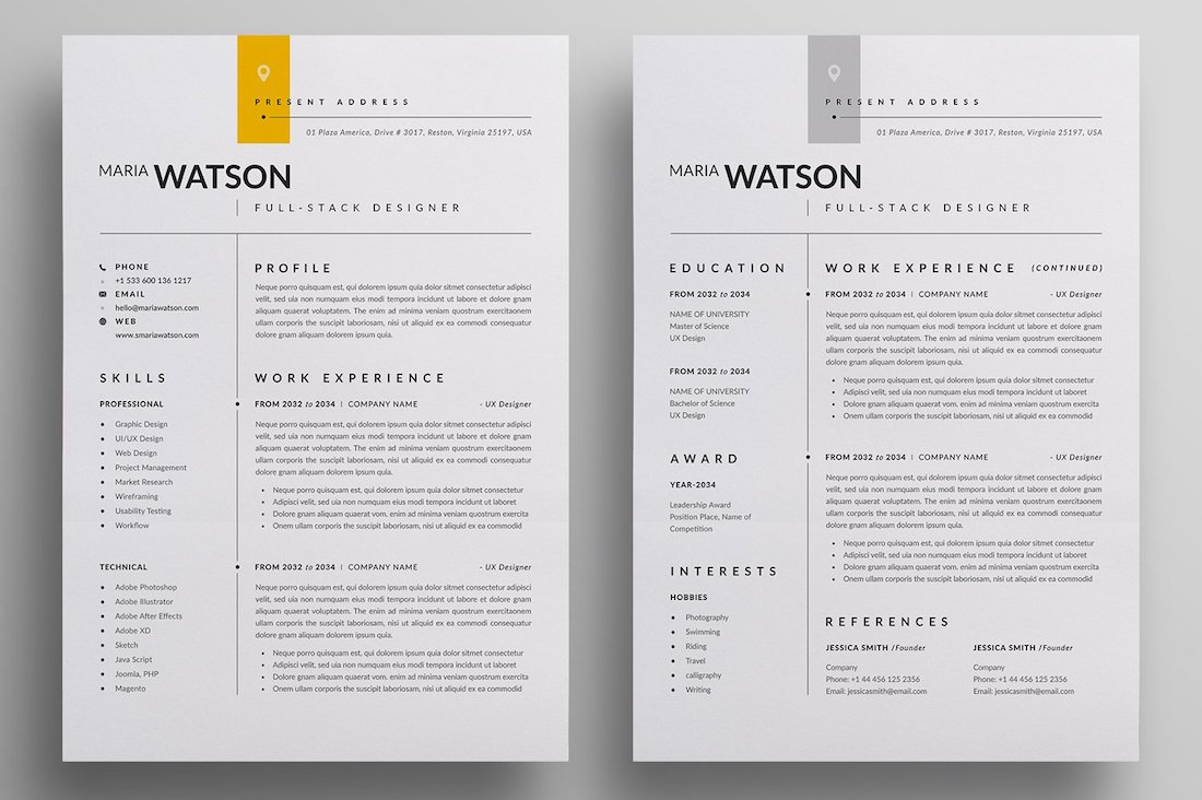 resume cv template 2 pages