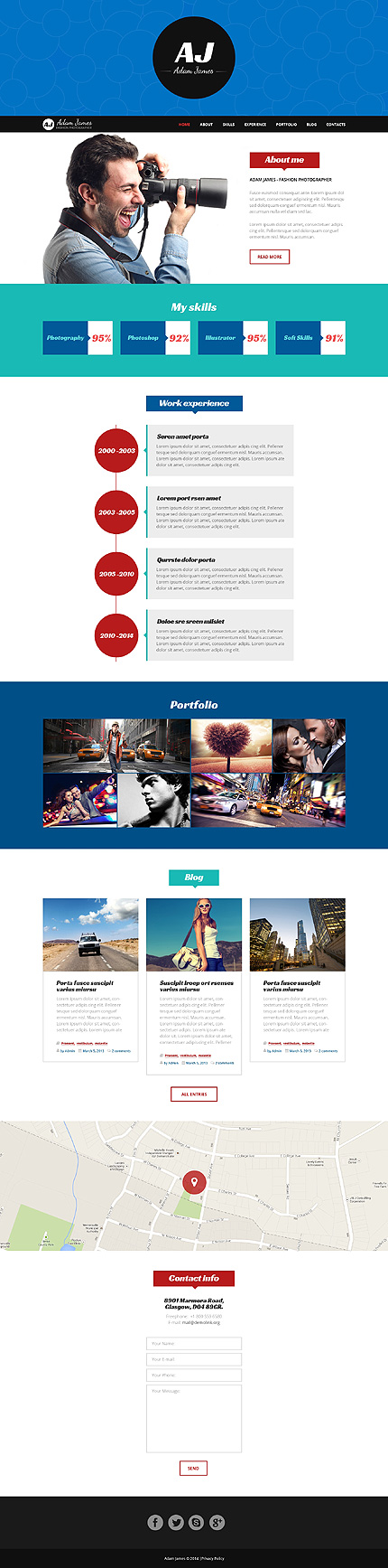 Page of Fashion Photographer WordPress Theme