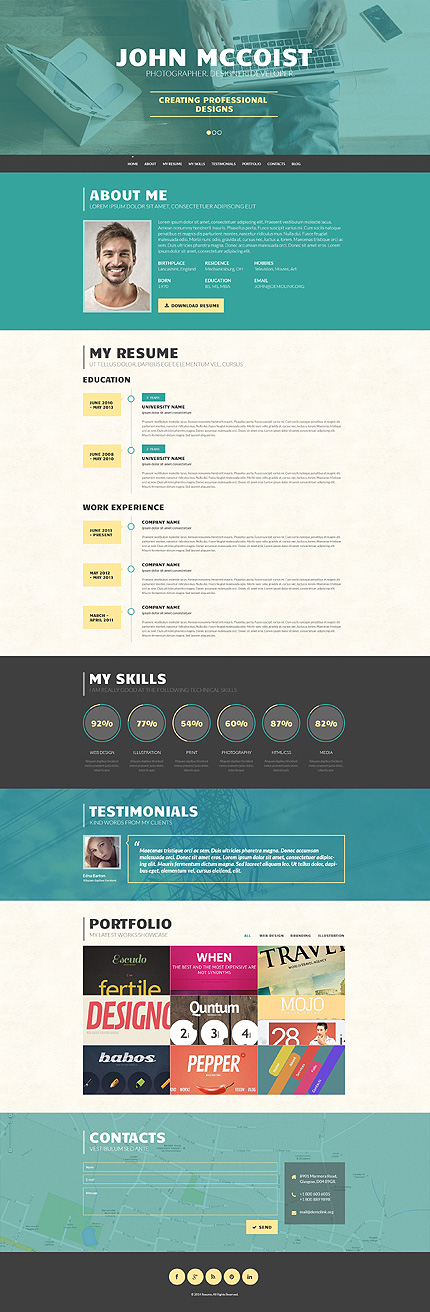 Wordpress Resume sility wp material design theme Persuasive Web Portfolio Wordpress Theme
