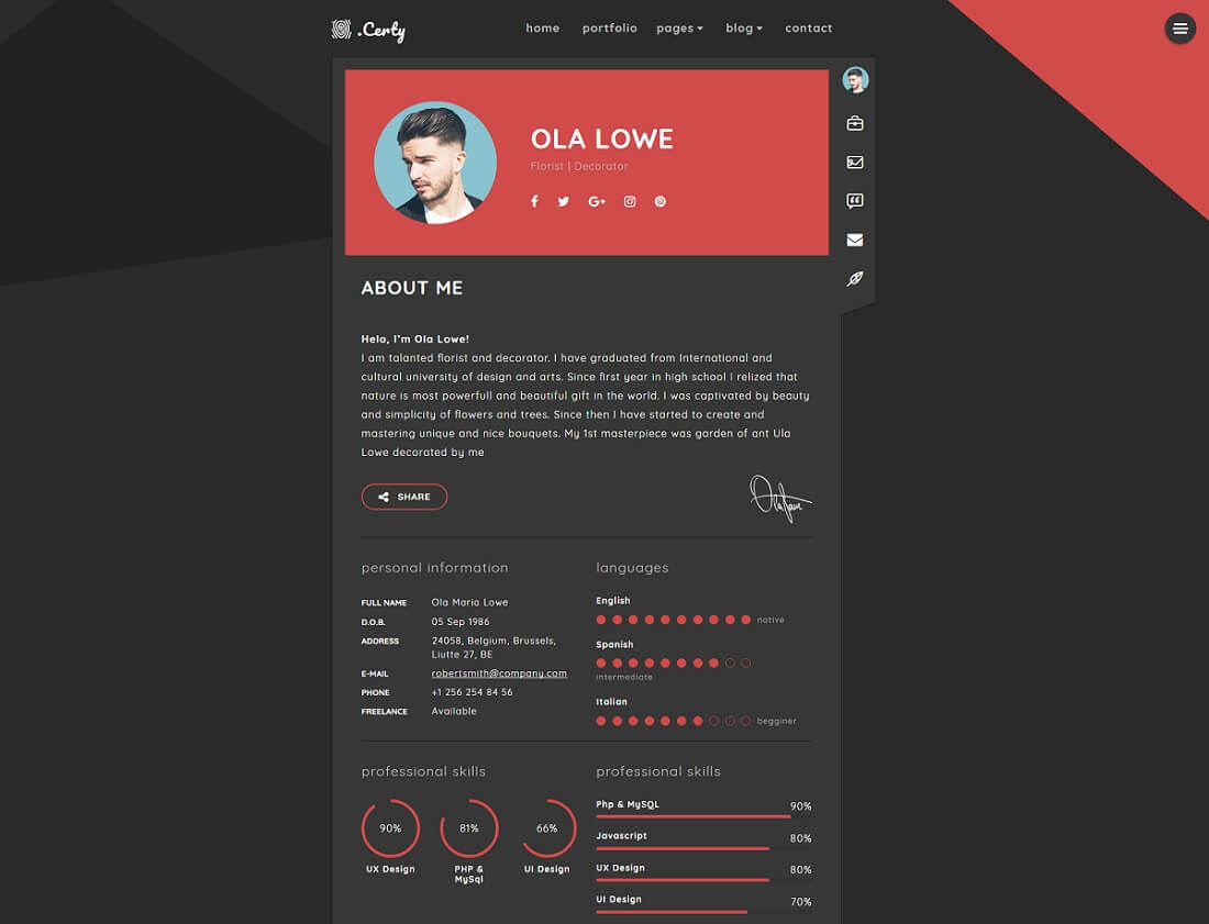 20 Top Resume Website Templates For Online CVs 2017 - Colorlib