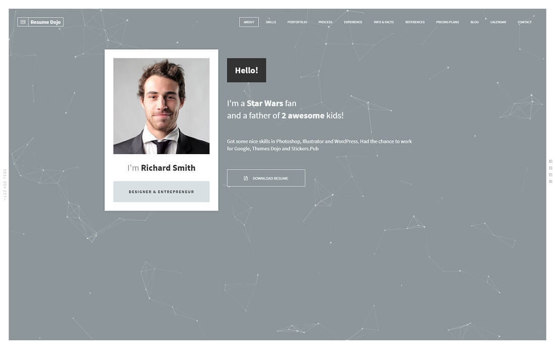 resumedojo HTML resume cv website template