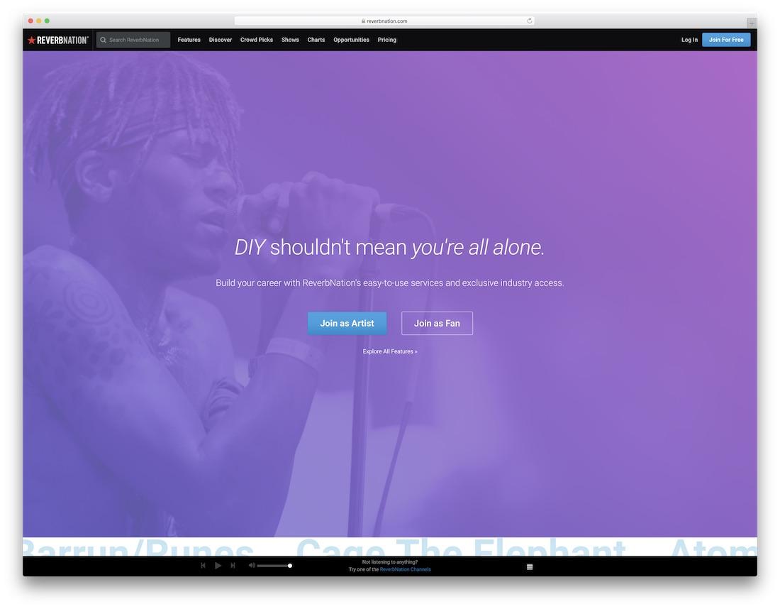 reverbnation musician website builder