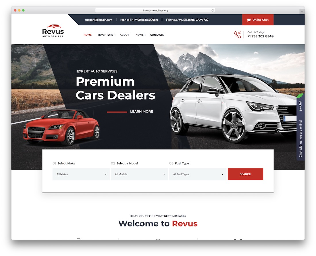 revus automotive wordpress theme