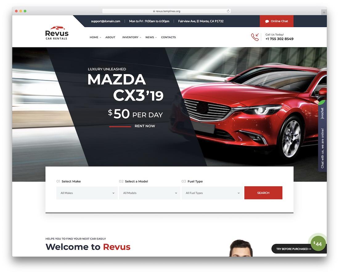 revus car rental wordpress theme