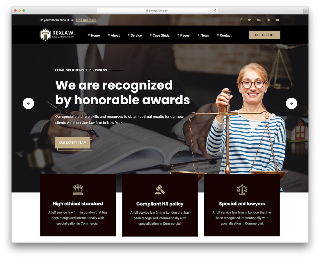 rexlaw law firm wordpress theme