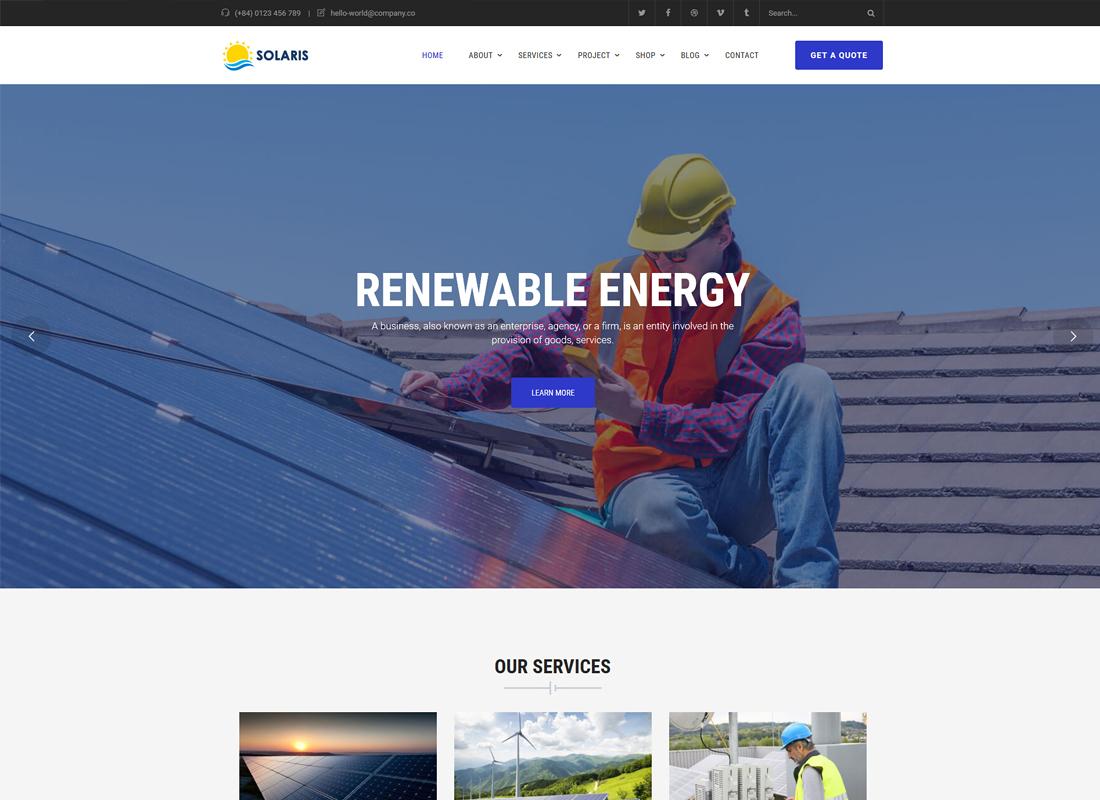 Solaris | Solar Environmental Energy WordPress Theme