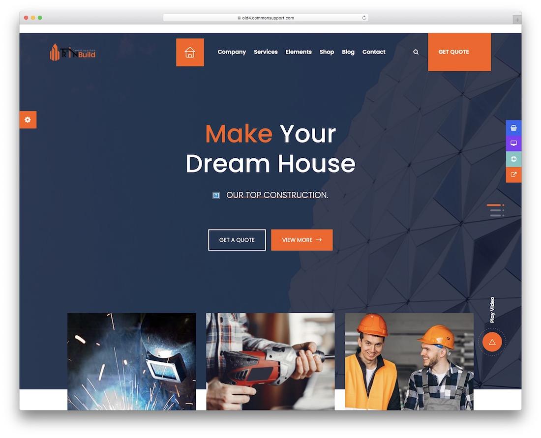 rin build construction company wordpress theme