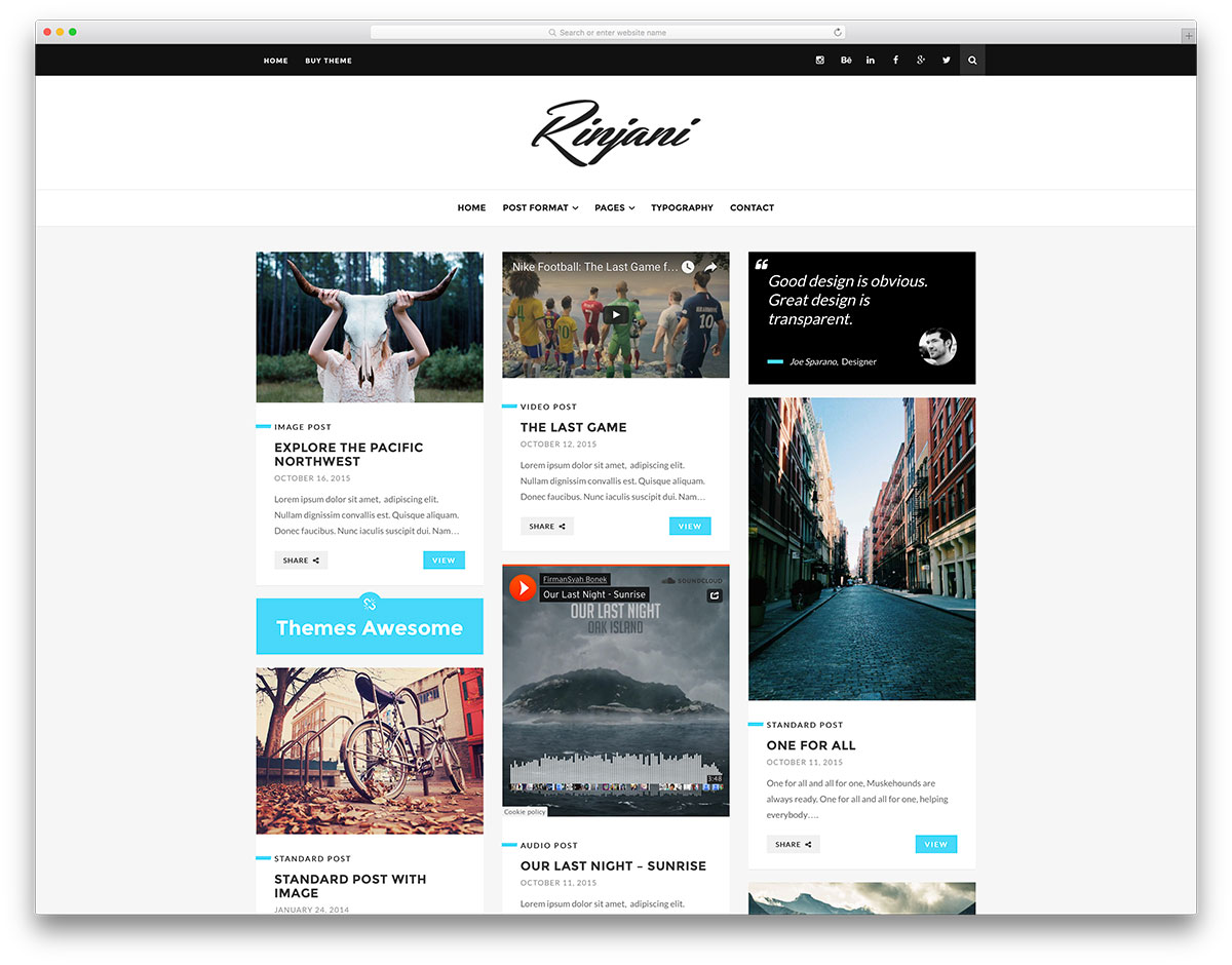 rinjani-minimal-grid-wordpress-theme