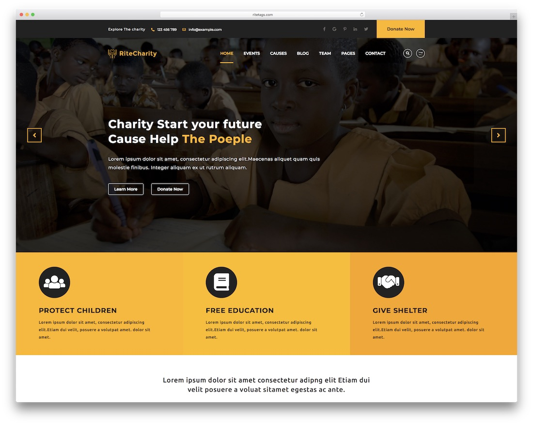 rite website template