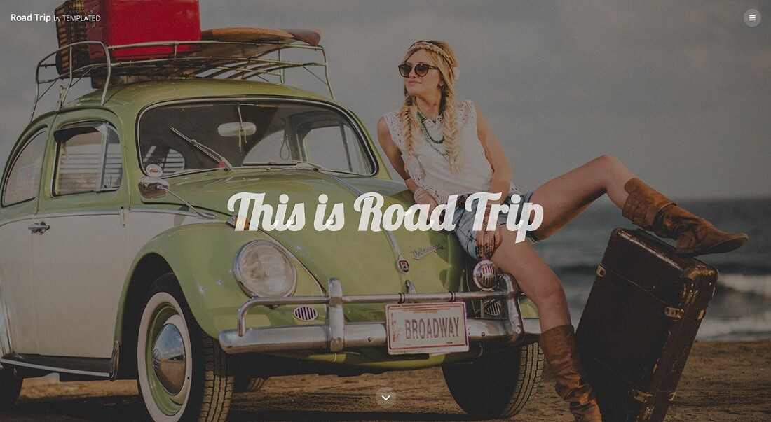 road trip free HTML website template