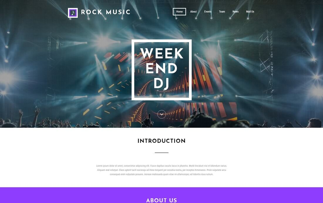 rock music free event website template