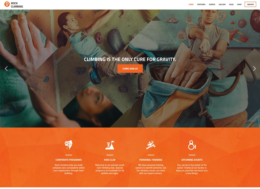 Rock & Wall Climbing / Sport Club WordPress Theme