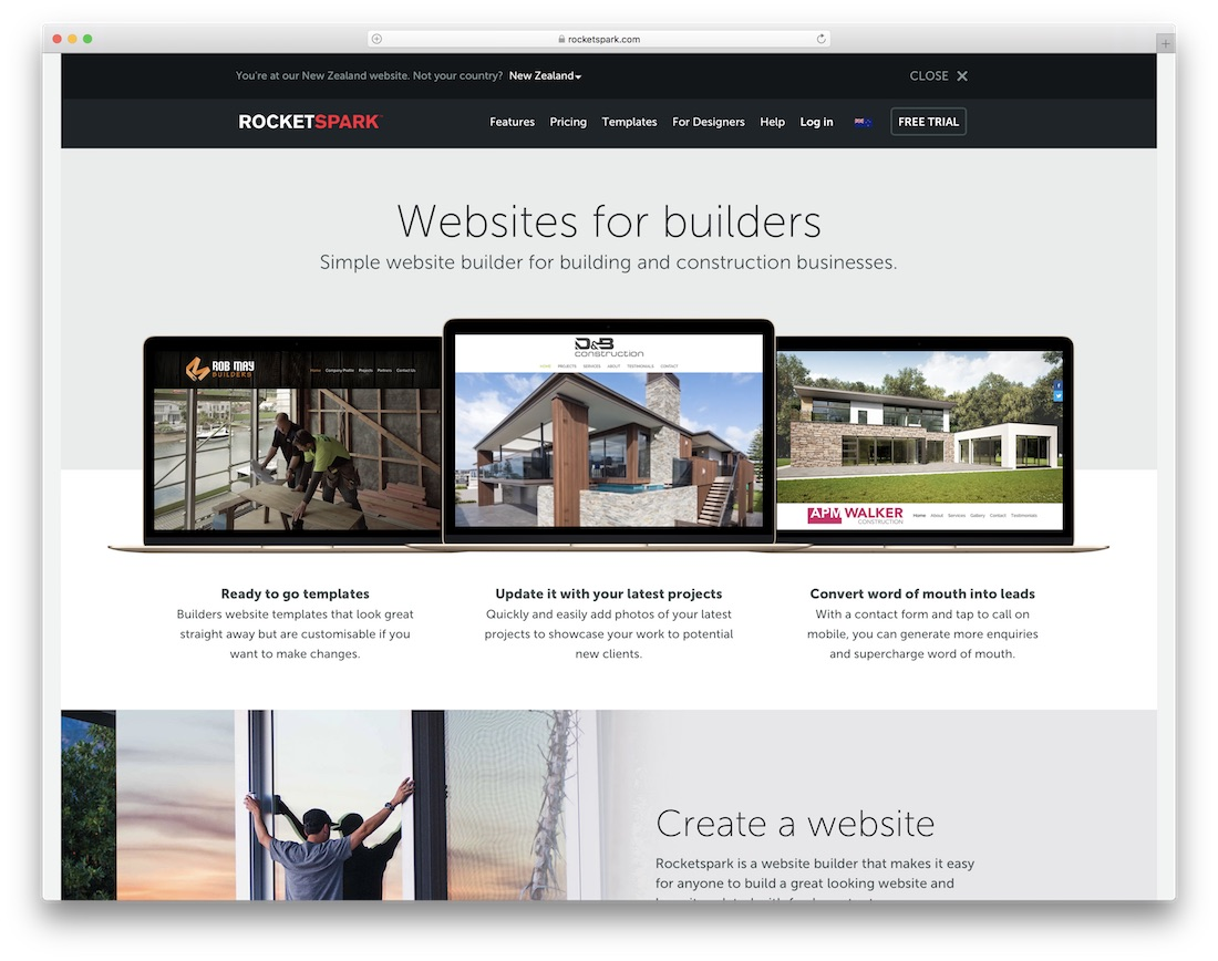 rocketspark website builder for construction company