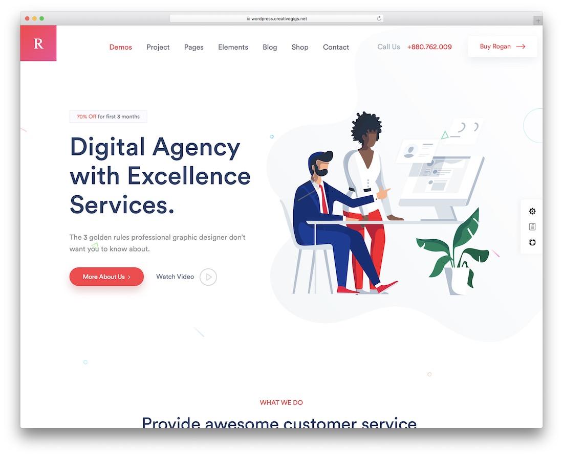 rogan creative agency wordpress theme