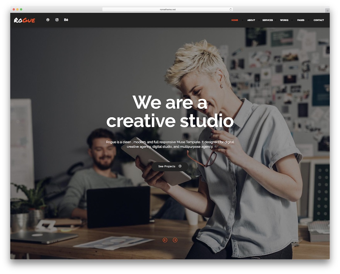 rogue adobe muse template