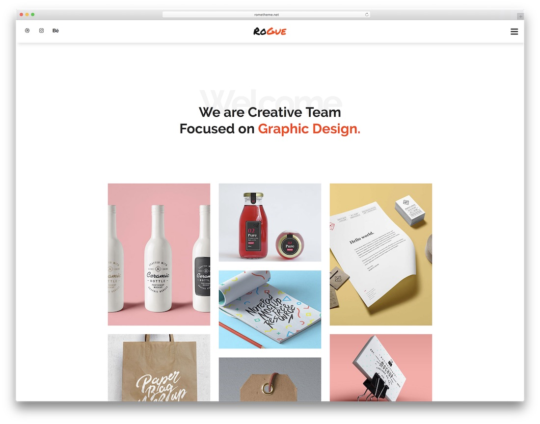 rogue clean adobe muse template