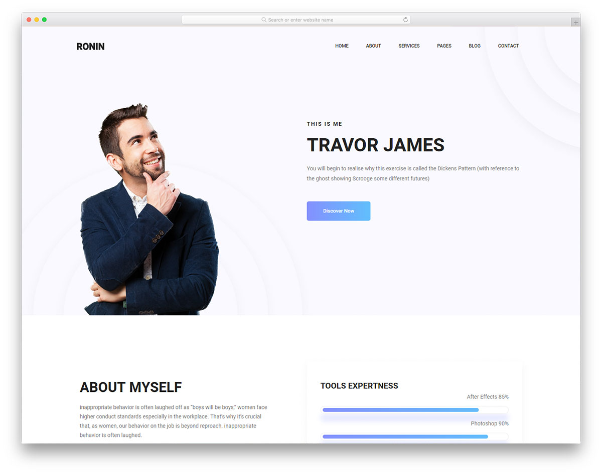 Most popular free personal website templates colorlib ronin free template maxwellsz