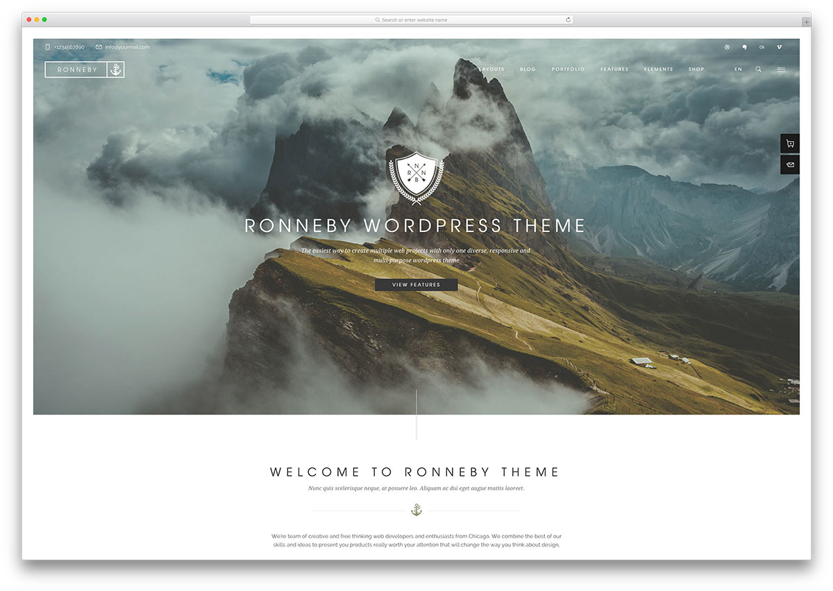 Ronneby vintage business WordPress theme