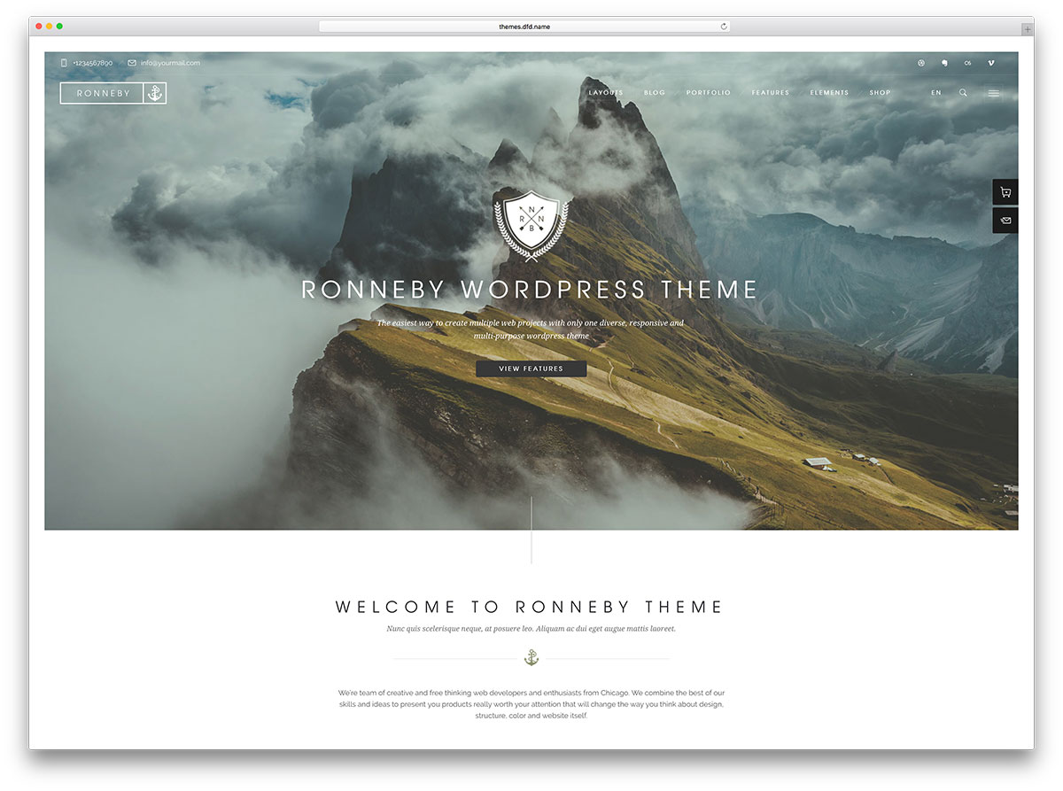 ronneby fullscreen portfolio wordpress template