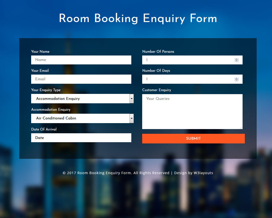room-booking-enquiry-form