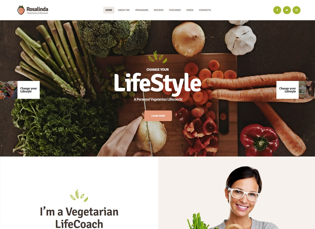 Rosalinda | 건강 코치 및 채식 생활 블로그 WordPress Theme