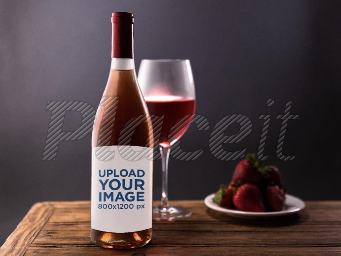 rose wine bottle mockup template