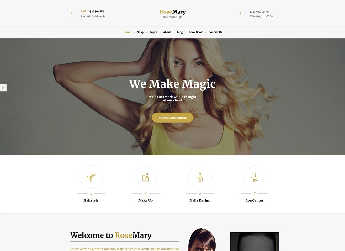RoseMary | A Refined Hair, Beauty & Spa Salon WordPress Theme