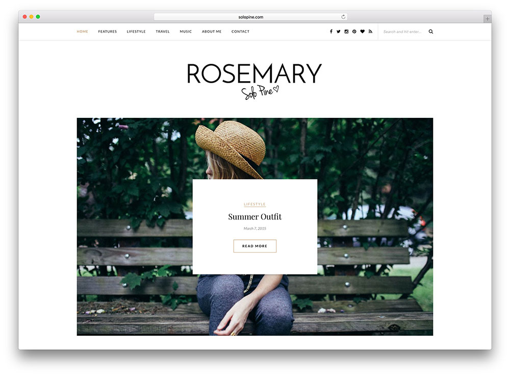 Rosemary White Beautiful Blog Theme
