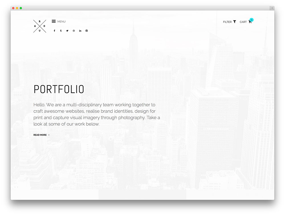 roua simple and minimal portfolio theme