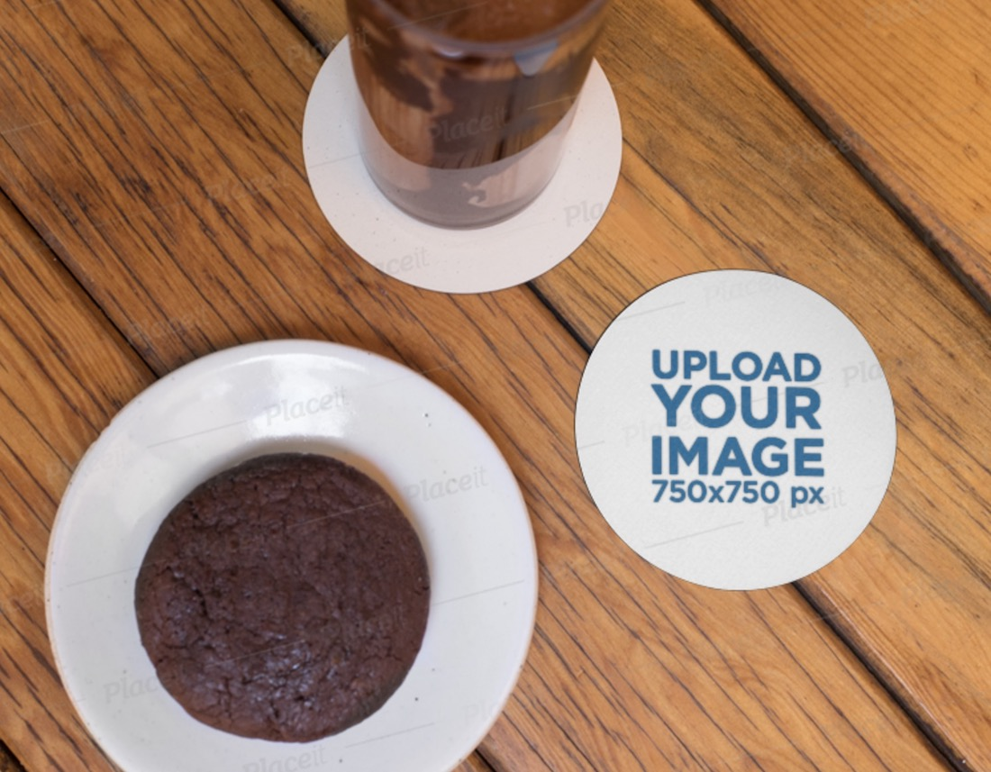 round coaster mockup featuring a brownie and a drink