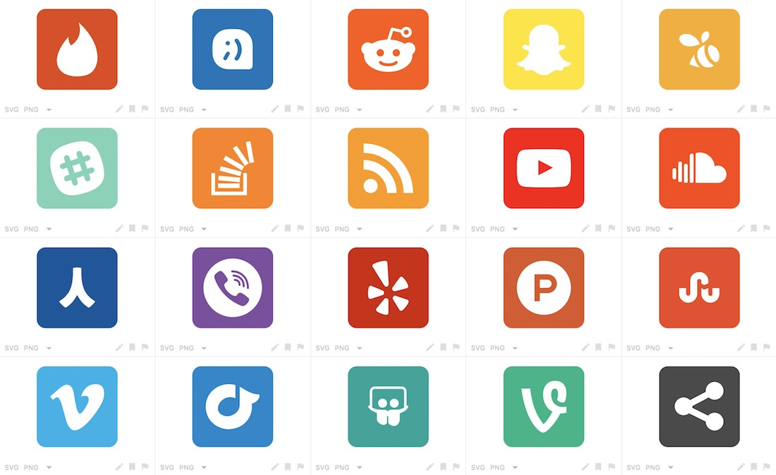 rounded social buttons