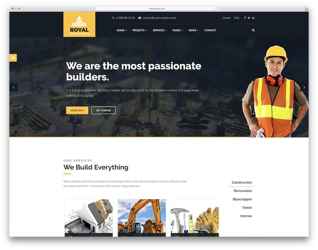 royal html construction company template