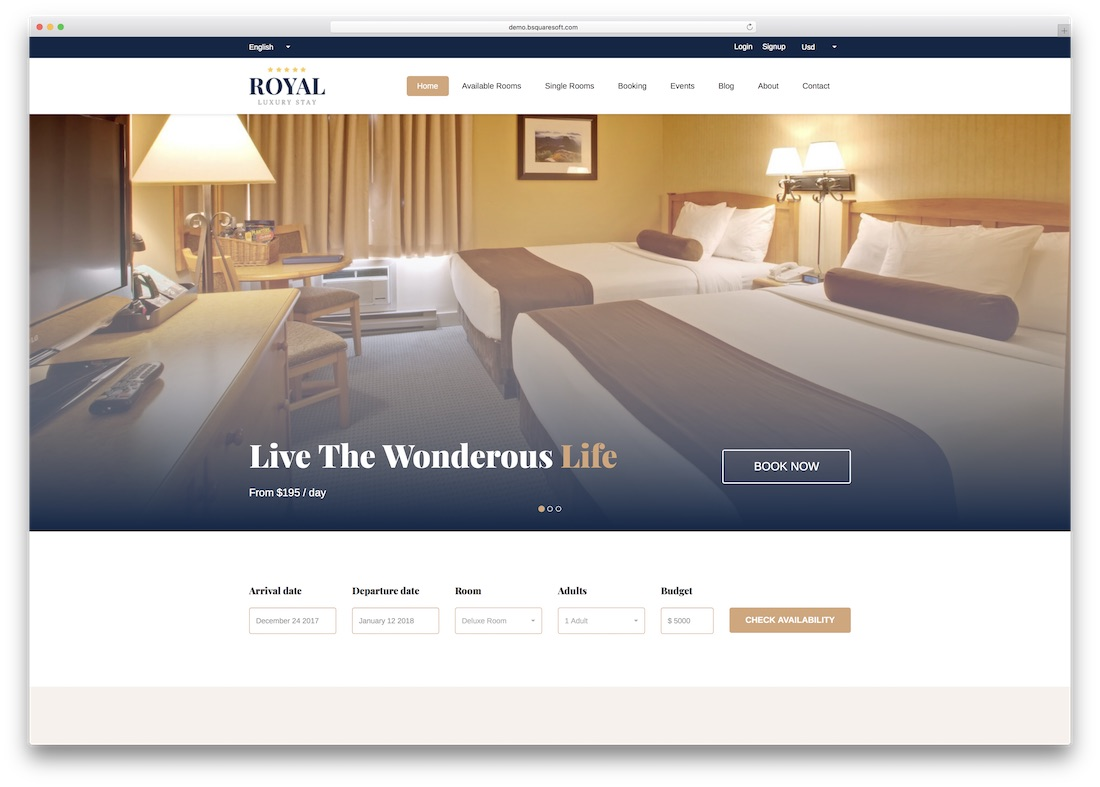 royal luxury stay html5 hotel website template
